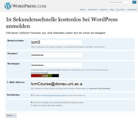 Wordpress Blog registrieren