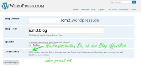 Wordpress Blog benennen