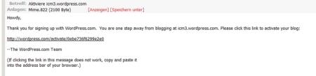 Blog bestätigen
